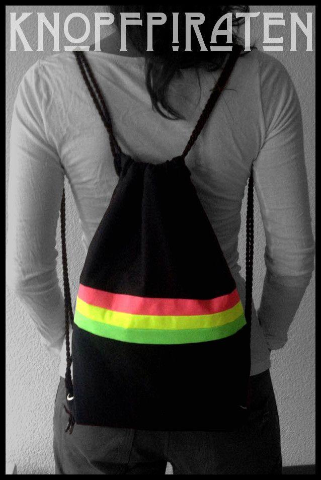 """CITY-SURFERbag """"WaveStripes"""" PINK  www.facebook.com/knopfpiraten #turnbeutel #handmade #hipster #beutel #neon #stoffbeutel #strandbeutel Material Baumwolle /SchwarzMaße 32 x 40 cm"""