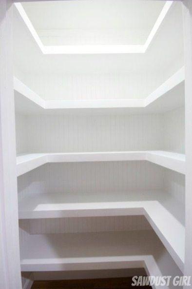 Hall Closet with Floating Shelves #floatingshelves