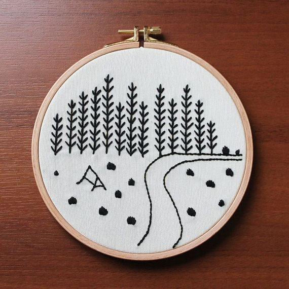Mountain View, Wall or Door Hanging Embroidery Hoop Art, Fabric Wall ...