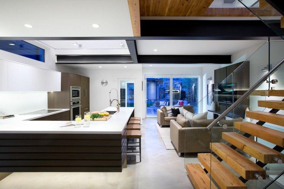 fachada de casa moderna de dos pisos ecolgica con decoracin de exteriores usando paisajista