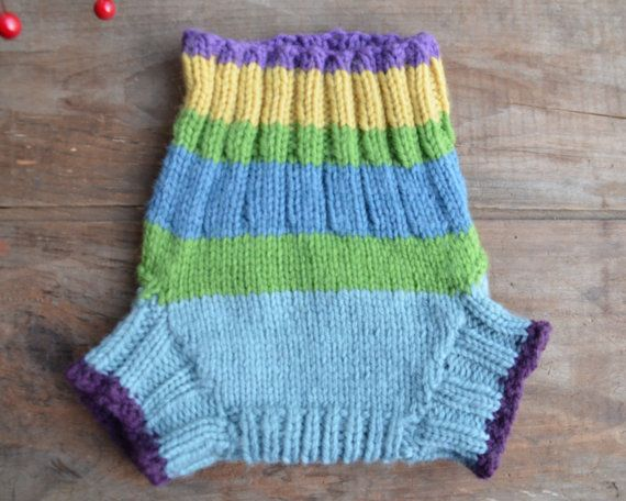 Hand Knit Wool Soaker Wool Diaper Cover Size Small Medium