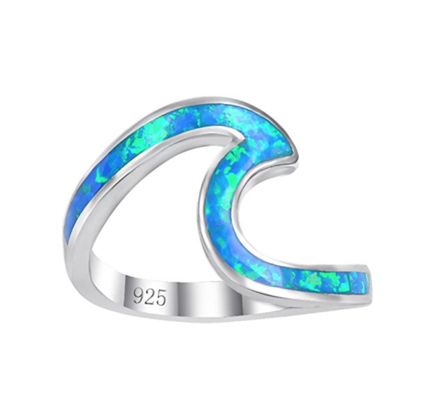 Paradise Blue Wave Ring Rings For Girls Sterling Silver Wedding Band Sterling Silver Rings Bands