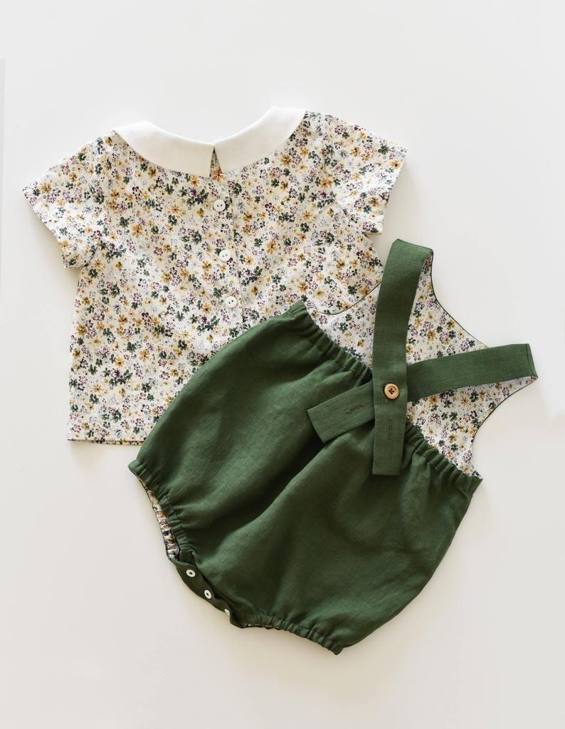 Tenue de bébé, tenue de fille, lin Combi-short, Top fleuri, col Claudine, les filles, barboteuse, moutarde Combi-short, vêtements de bébé