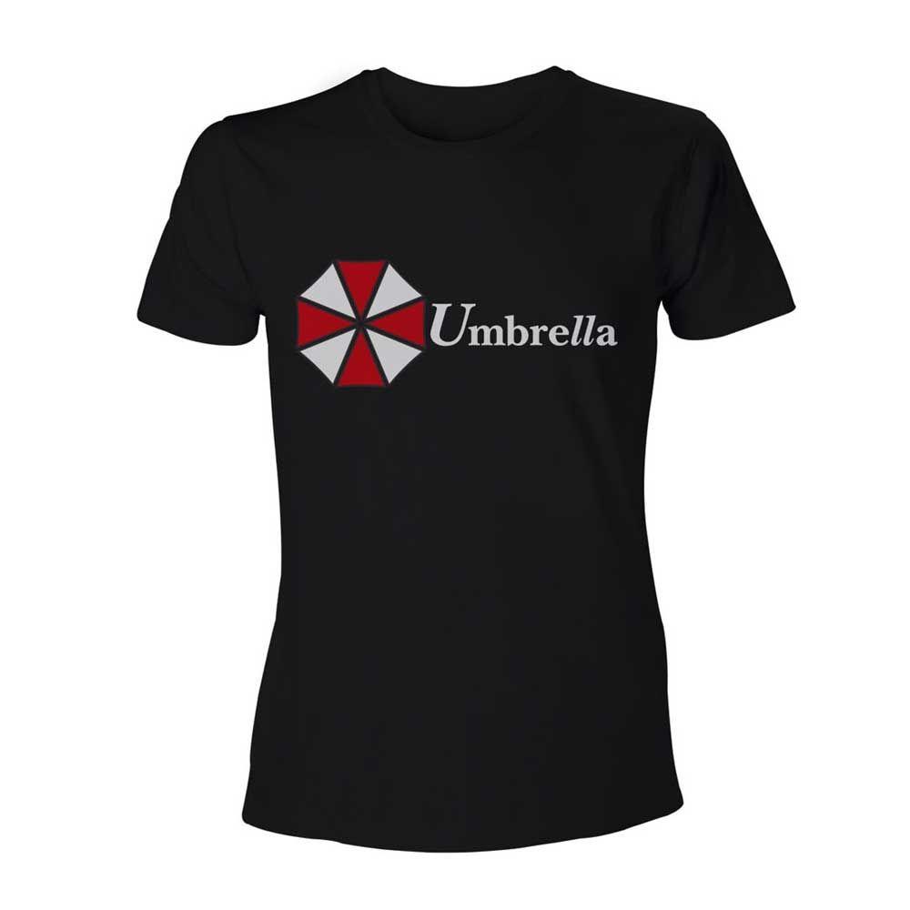 Resident Evil. Een zwart T-shirt met het logo van het bekende bedrijf uit de serie: Umbrella Corporation.