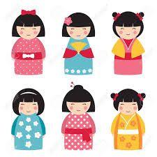 Resultado De Imagen De Kimono Dibujo Bordado Japones Munecas Del Kokeshi Munecas Japonesas