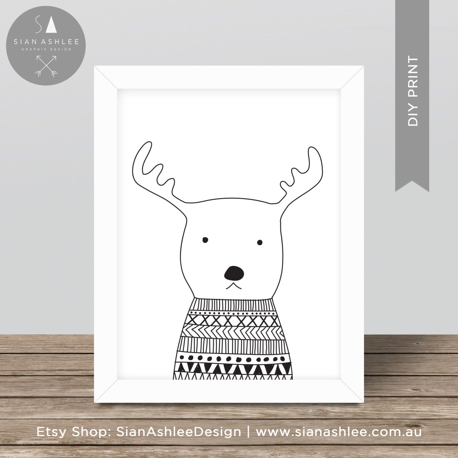 Scandinavian Print | Deer | Hand Drawn | Nursery Kids Room ...