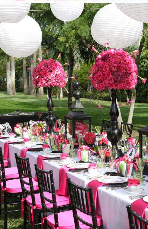 Hot Pink and Black Outdoor Wedding Reception | For the big day ...