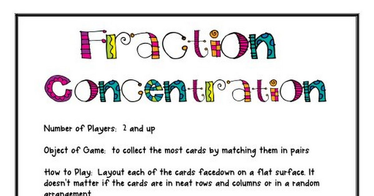 fractions concentration.pdf Fractions, Third grade