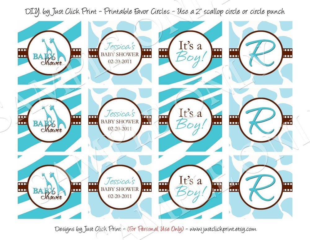 Wild Safari Blue Baby Shower Favor Tags & Cupcake Wrappers | baby ...