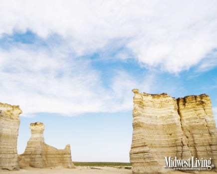 Near Oakley, Kansas, the multilayer chalk formations of Monument Rocks rise from what was once the ocean floor.