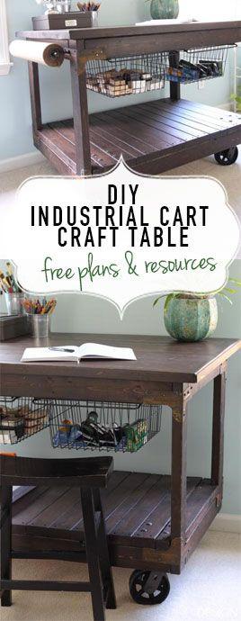 Diy Craft Table Vintage Industrial Cart Inspired Craft