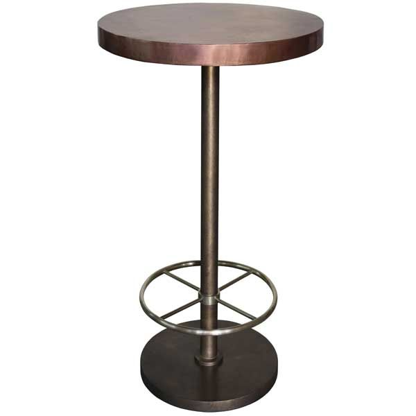 Bistro Bar Table With Copper Top (Round). Brass Footrest. Lightly  Distressed And