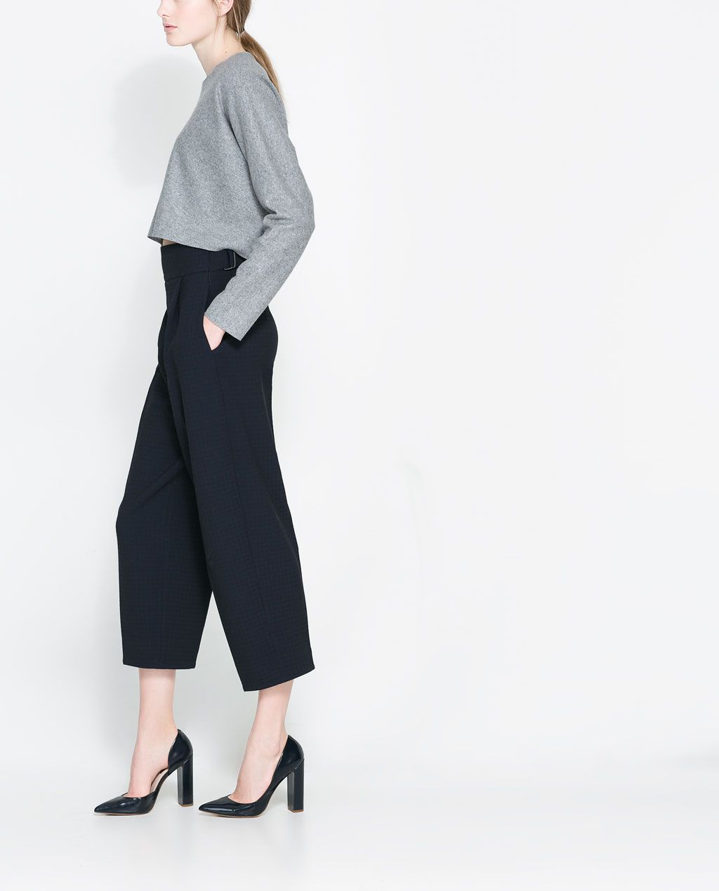 ZARA - NEW COLLECTION - JACQUARD TROUSERS WITH BUCKLE
