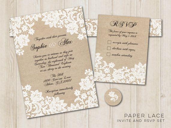 paper lace 5x7 invitation and rsvp set digital printable file