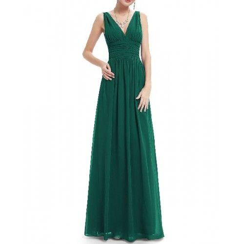 956e26d8f Vestido Ceremonia Largo Verde Botella