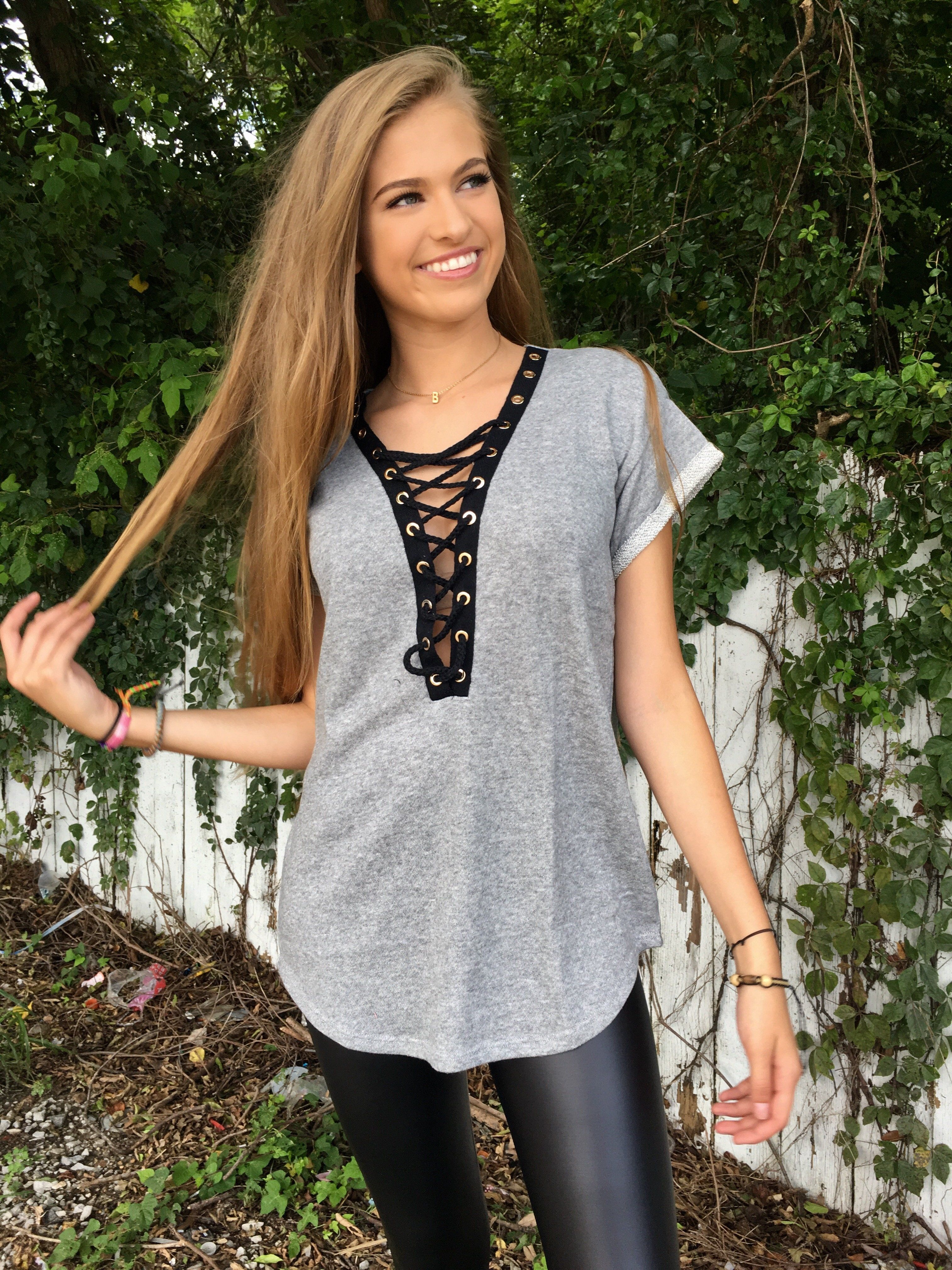 FOLDER SHORT SLEEVE PLUNGE LACE-UP FRENCH TERRY TOP W/ EYELET TRIM