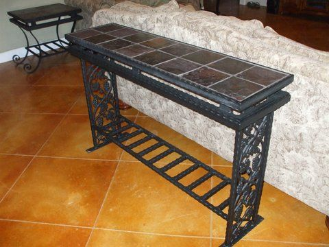 Custom Built Metal End Table With Tile Top