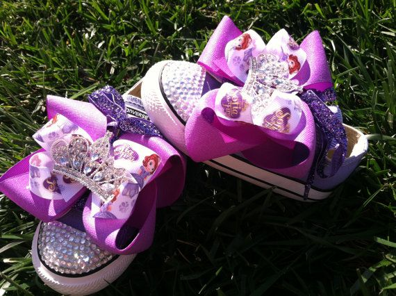 10% OFF Princess Sofia Shoes - Sofia the First - Sofia Party - Costume - Crystals - Lavender Converse - Infant/Toddler/Youth
