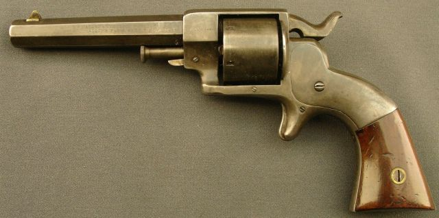 "Allen & Wheelock .32 Sidehammer Revolver. A 6 shot .32 rimfire revolver by Allen and Wheelock of Worcester, Mass. This one has no cylinder scene and has the ""July 3, 1860"" marking which indicates that this is a second model."