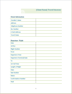 travel itinerary template download at http www templateinn com