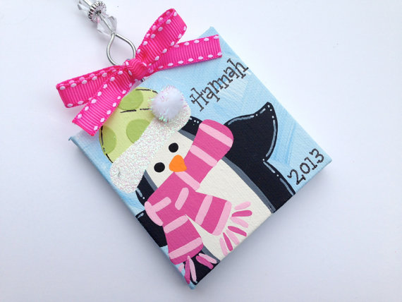 Personalized Penguin holiday ornament by threedoodlebugs on Etsy