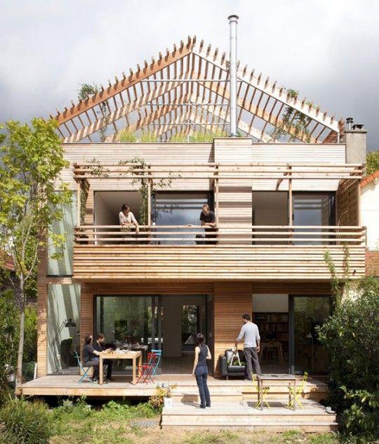 Une maison en bois éco-durable près de Paris par Djuric Tardio - Maison Toit Plat Prix Au M