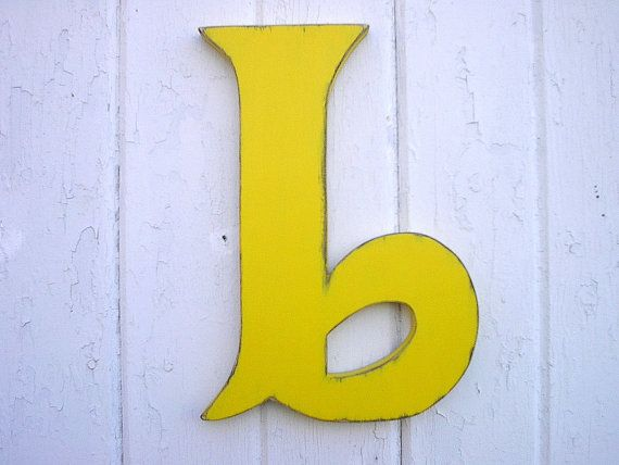 Decorative Wooden Alphabet Letter Yellow 12 inch B Wall Hanging Big ...