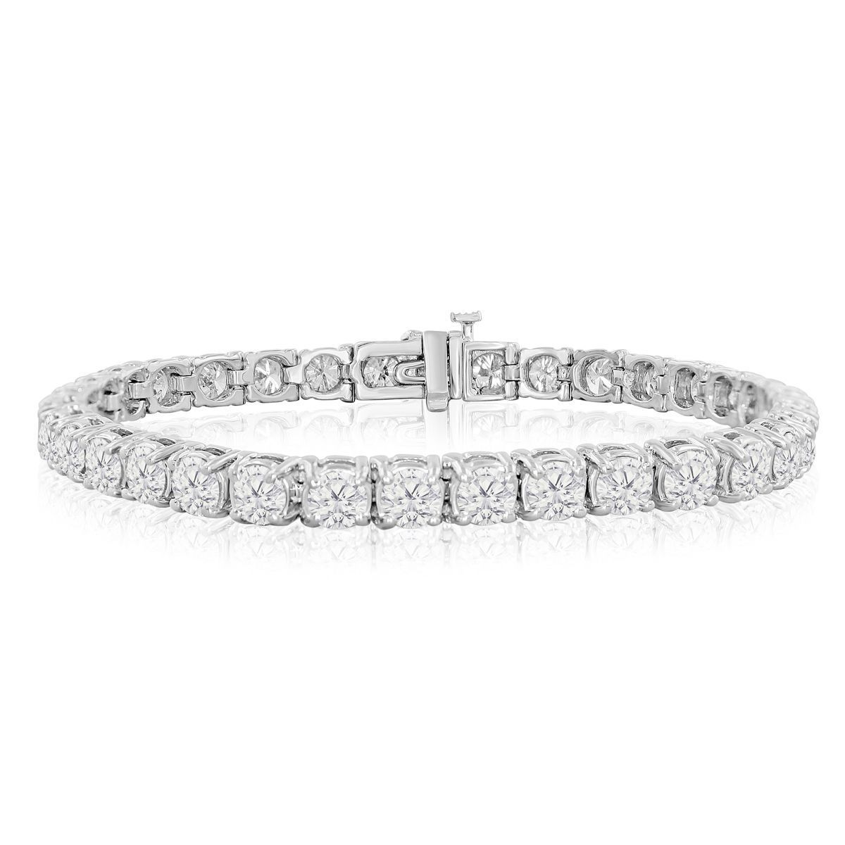 14k White Gold 9 1 2 To 14 1 2ct Tdw Round Diamond Tennis Bracelet J K I2 I3 6 I White Gold Diamond Bracelet Black Diamond Bracelet Tennis Bracelet Diamond