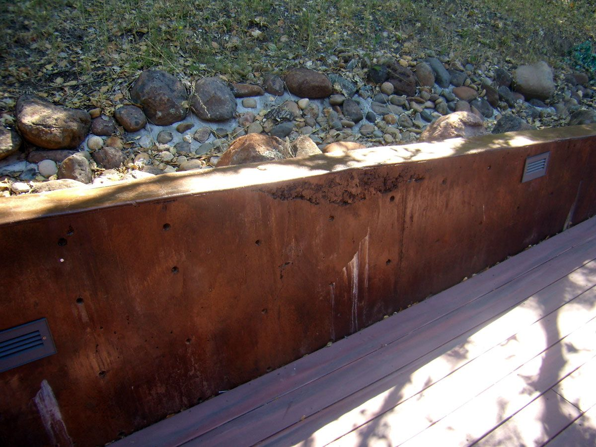 Stained Concrete Retaining Wall
