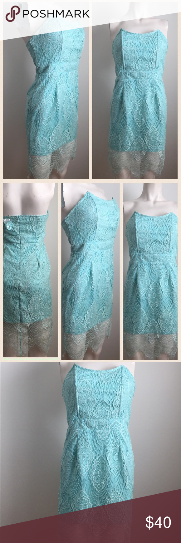 Blue lace dress Cute allover lace dress. Baby blue color. Zipper along the back. Comes with straps. You can convert to strapless or you can add the adjustable straps. Brand tag has been taken out. Has been used in a scene on a CBS TV show (other items in my closet that have been worn on tv have the brand tag along with the CBS costume department barcode but unfortunately this one does not ). In very good condition. Looks brand new! Dresses