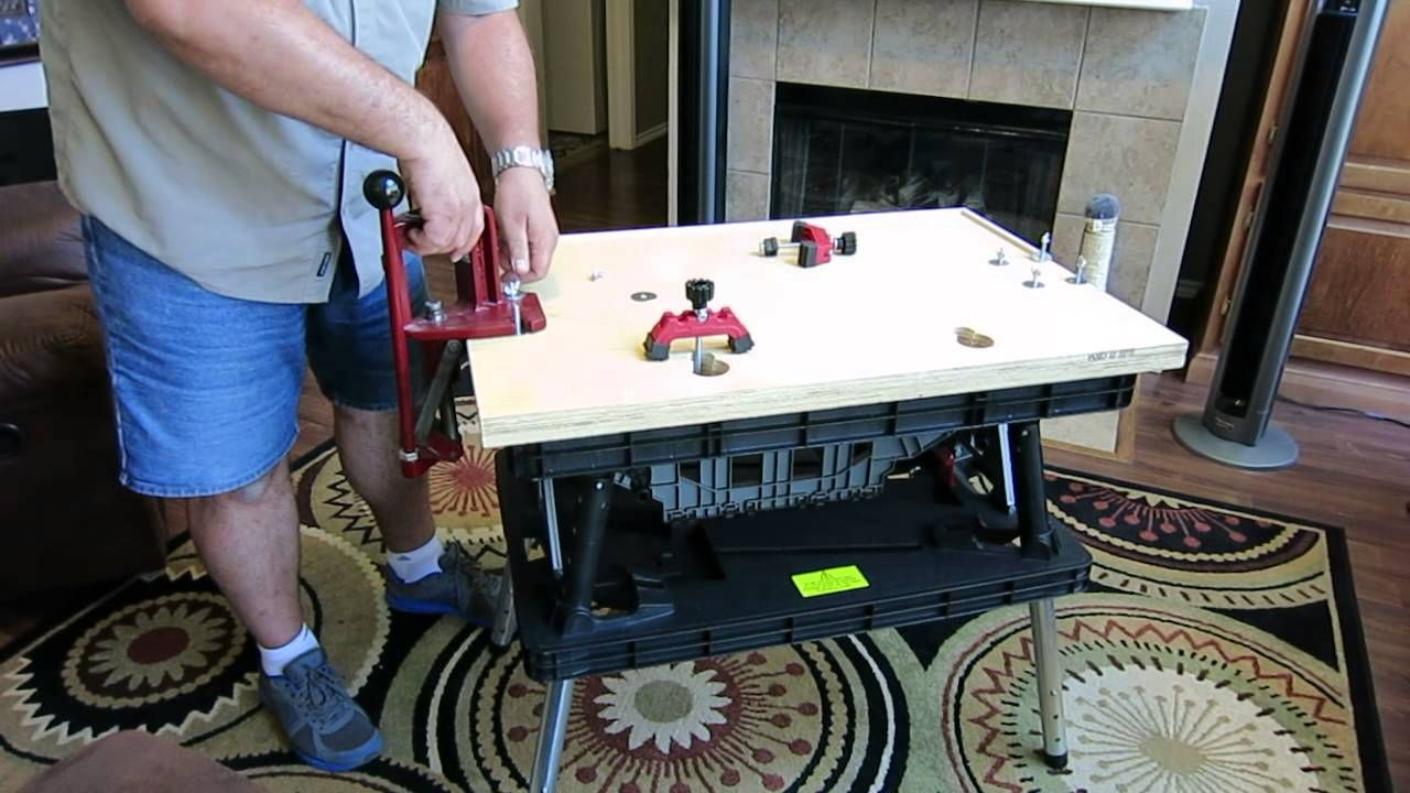 Portable Reloading Bench Using A Keter Folding Work Table Keter Folding Work Table Reloading Bench Work Table