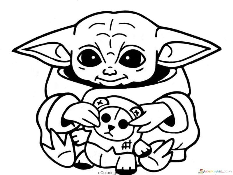 Star Wars Baby Yoda And Mandalorian Coloring Pages In 2020