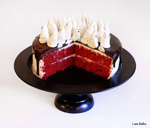 Ghost Halloween cake. I love that it's red velvet! Adds a little creepiness to it.