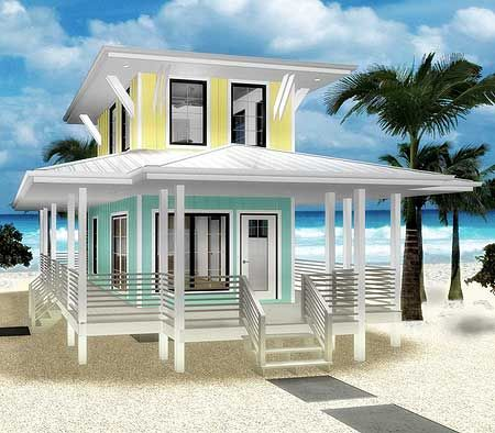 Plan W62575DJ: Beach Loveru0027s Dream Tiny House Plan Elevation