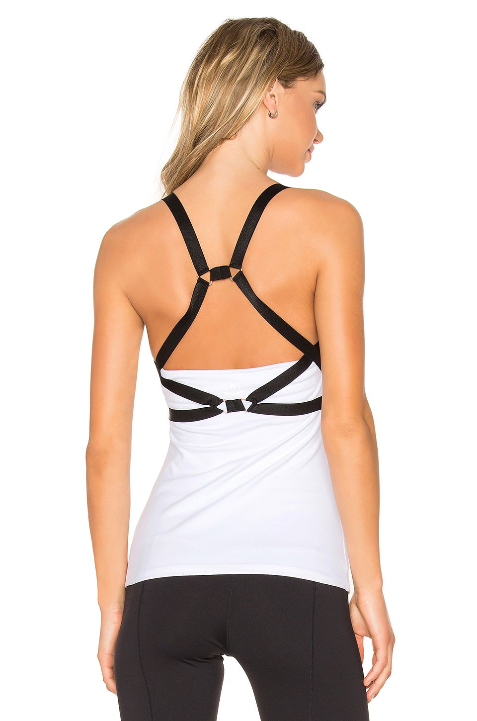 ∞ Beyond Yoga Live Free or Tie Hard Tank in White