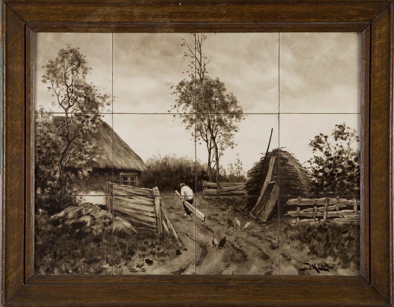 Tegels Den Haag : Tableau van 12 keramische tegels voorstellende een boerderij