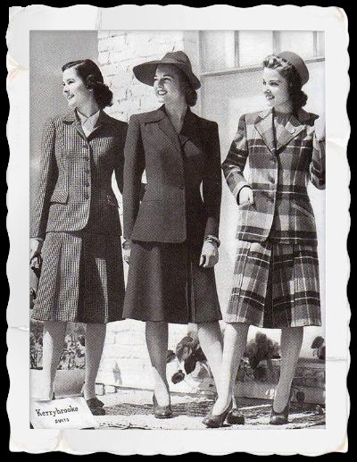 mode 1940 ensemble costume blazer et jupe taille haute carreaux cossais photo de magazine. Black Bedroom Furniture Sets. Home Design Ideas