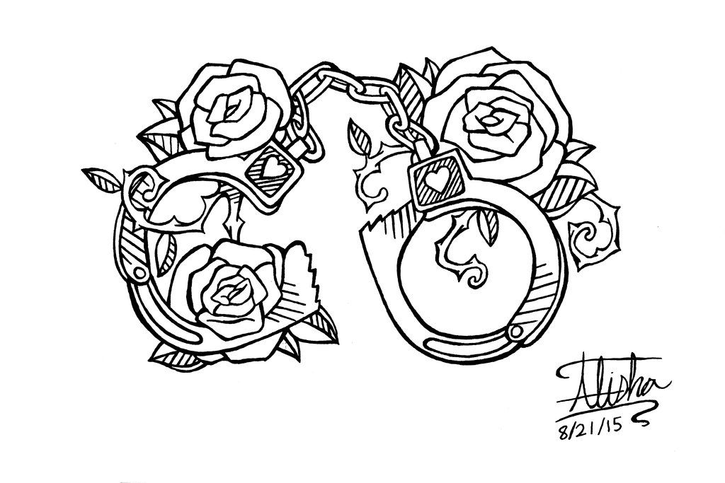 Handcuffs Tattoo Design Side Piece By Alishaart Deviantart Com On Deviantart Chest Piece Tattoos Handcuffs Drawing Wife Tattoo