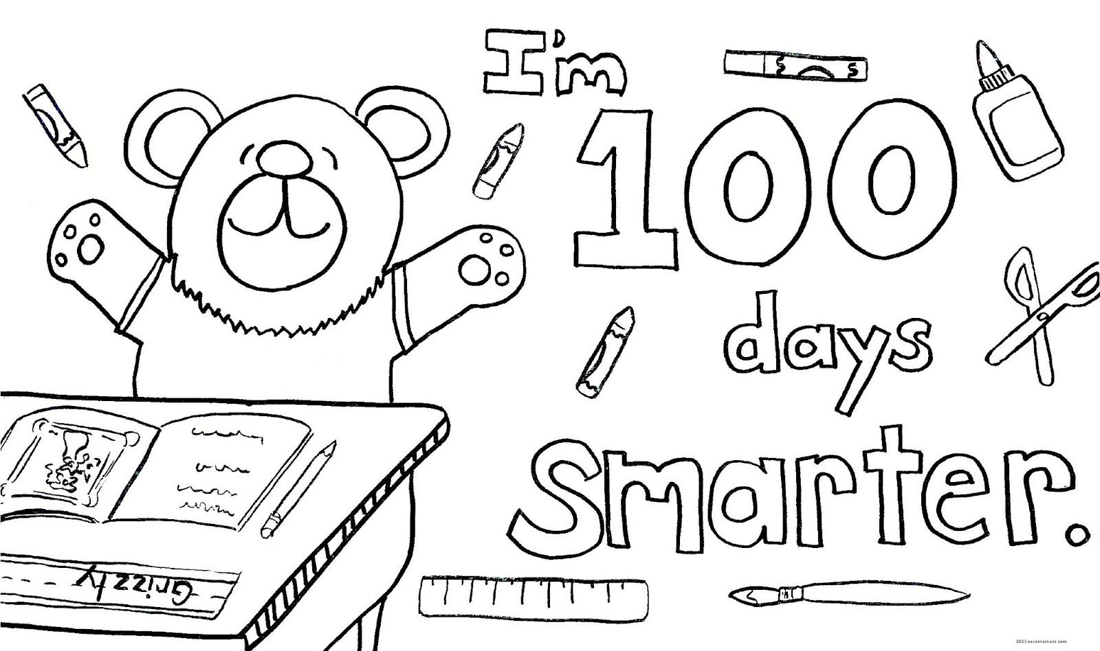 I\'m 100 days Smarter! Coloring page. | Coloring Pages | Pinterest