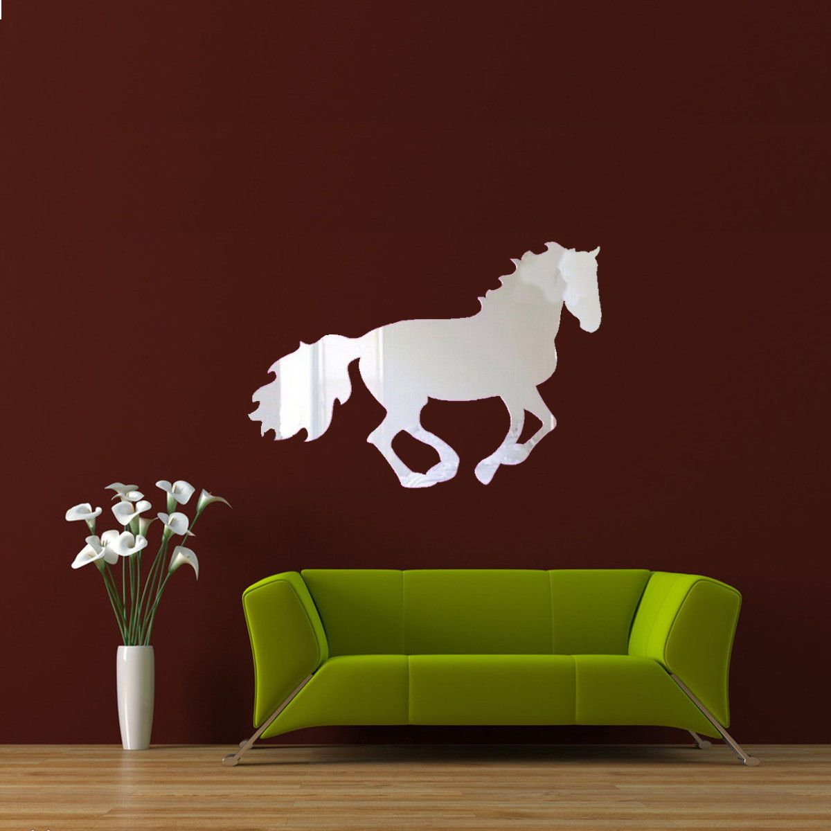 D acrylic mirror running horse wall sticker decal home office diy