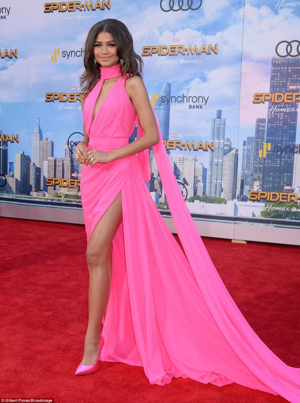 Zendaya dazzles in flowing pink gown with thigh slit at spiderman