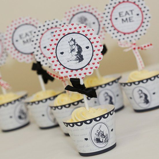 Mad Hatter Cupcake Wraps - Printable Template available http://www.partyideasuk.co.uk/library/party-themes/mad-hatter-tea-party-ideas/mad-hatter-script-cupcake-wraps.aspx