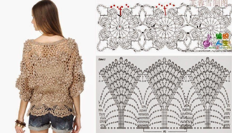 Patrón de Blusa a Crochet | Blusas tejidas | Pinterest | Patrones de ...
