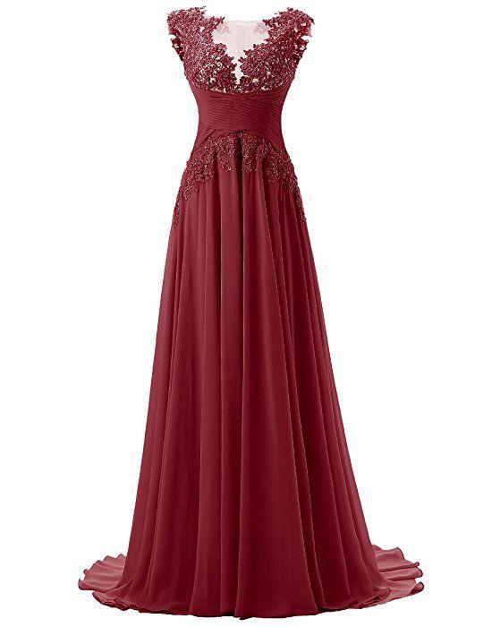Dresstells Damen Lang Chiffon Promi-Kleider Maxi Abendkleider Purpur ...