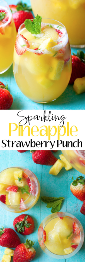 Try this Sparkling Pineapple Strawberry Punch for your next party! Sweet pineapple juice is paired with bubbly ginger ale, fresh fruit and mint for a refreshing non alcoholic punch! #summeralcoholicdrinks