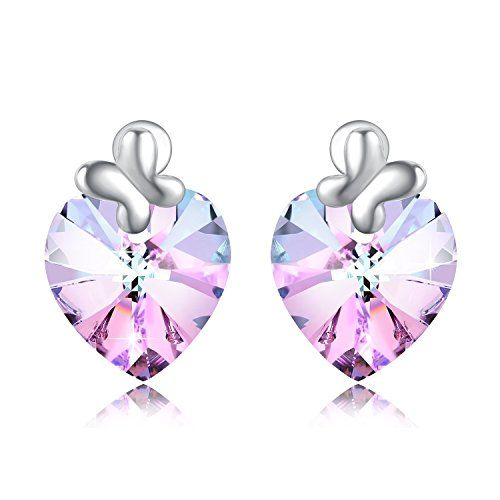 Sgifts Plato H Heart Of Ocean Bow Tie Stud Earring With Swarovski Crystals Gift For