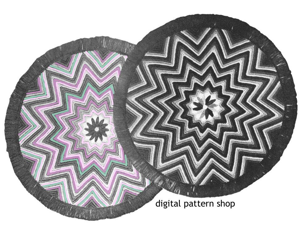 Crochet Rug Pattern 1940s Vintage Round Star Rug, Zig Zag Rug Crochet Pattern Chevron Rug Instant Download PDF- C15 by DigitalPatternShop on Etsy