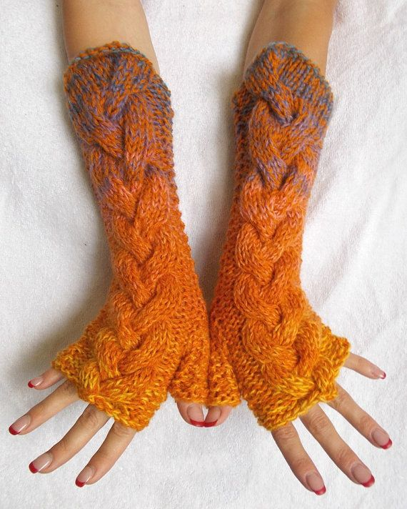 Chunky Fingerless Gloves Handknitted Cabled Warm Arm by LaimaShop, $40.00