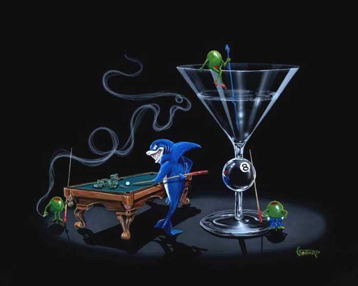 "Michael Godard /""POOL SHARK 2/"" Martini-Olive-Cigar-Billiards-Las Vegas-Poster"