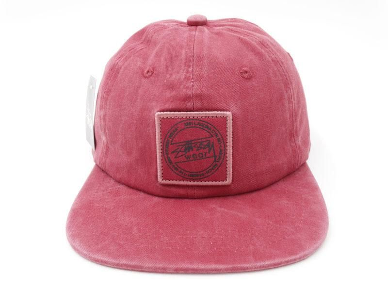 Men's Stussy The Stussy Wear Logo Patch Washed Twill Strapback Hat - Burgundy